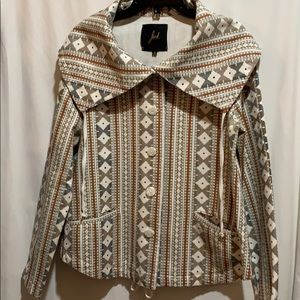 Jack Aztec print jacket SZ M draw string